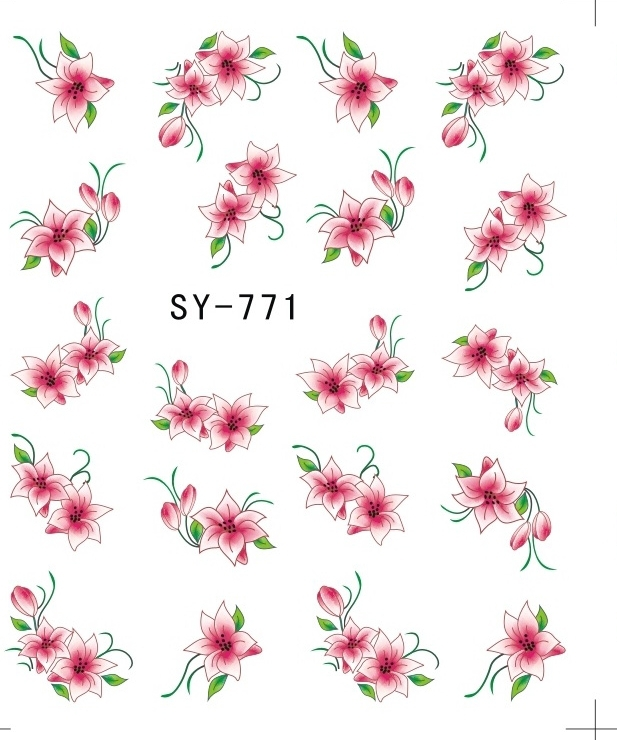1X Water Transfers Stickers Nail Decals Stickers Water Decal Red Trumpet Flower Petals SY771