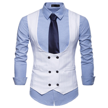 Large size male suit vest U-neck design Double-breasted pockets decorate casual style solid color Vest autumn and winter clothes