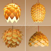 Retro OAK Wooden Pinecone Pendant Lights Hanging Wood PH Artichoke Lamps Dinning Room Restaurant Retro Fixtures