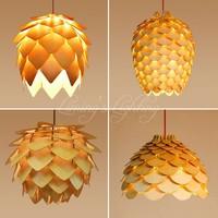 Retro OAK Wooden Pinecone Pendant Lights Hanging Wood PH Artichoke Lamps Dinning Room Restaurant Retro Fixtures