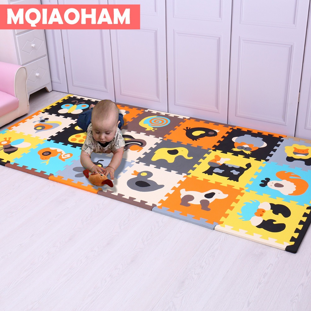 MQIAOHAM 18 PCS With Long Edges Hot Baby Play Puzzle Carpet Rug Puzzle Mat EVA Foam Waterproof Educational Colorful  Sports Tile