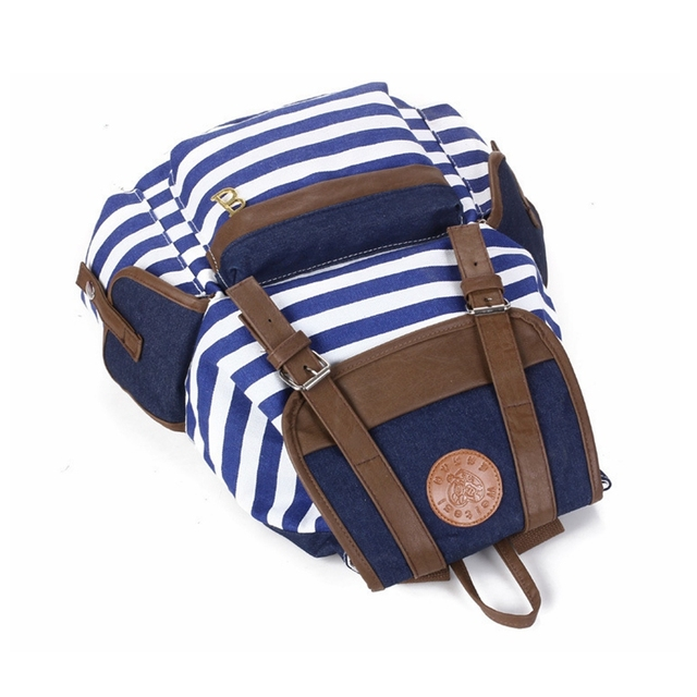 Women backpack New fashion stripe casual canvas backpack school bags preppy style female school backpacks good quality 2
