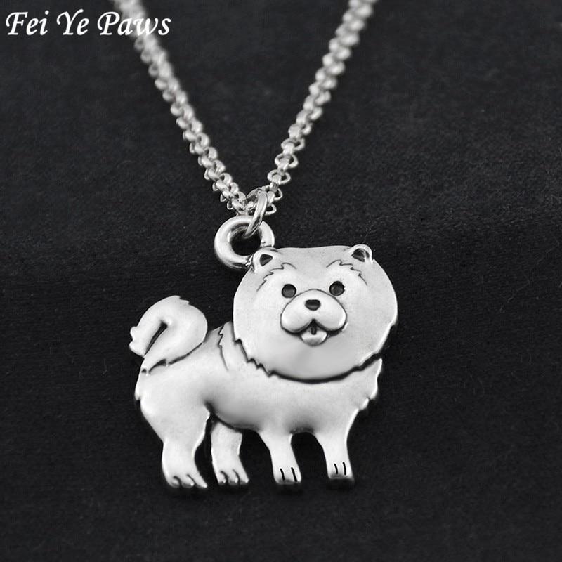 Fei Ye Paws Vintage Długi łańcuch ze stali nierdzewnej Śliczne Chow Chow Dog Charm Wisiorek Oświadczenie Naszyjnik Dla kobiet Choker Biżuteria dla zwierząt domowych