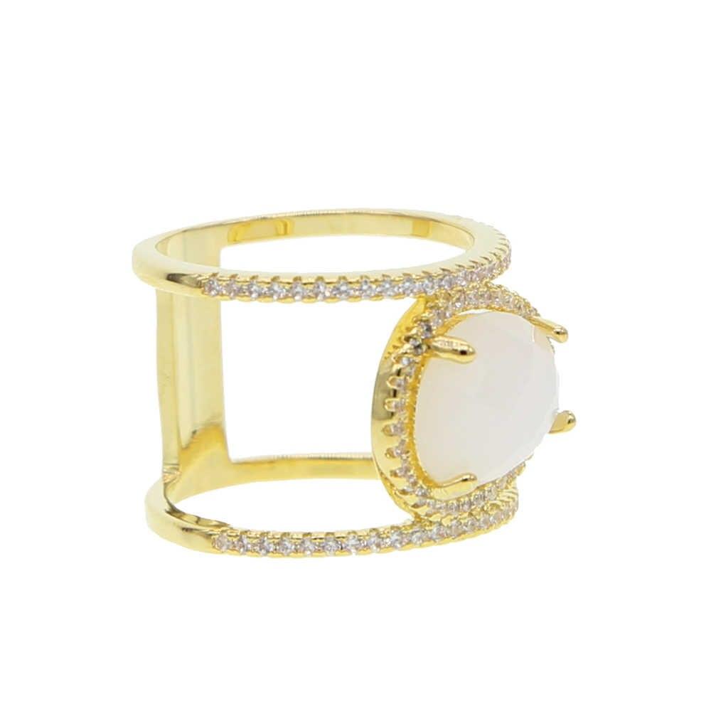 Золотое заполненное микро pave белое cz большое Ювелирное Украшение американский размер 5 6 7 8 женщины полный палец обручальное модное кольцо