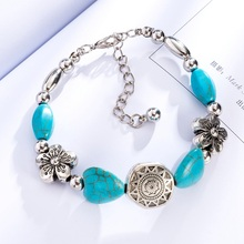 Bohopan Ethnic Style Silver Color Bracelets Bangles Green Natural Stone For Women Adjustable Chain Jewelry Accessories