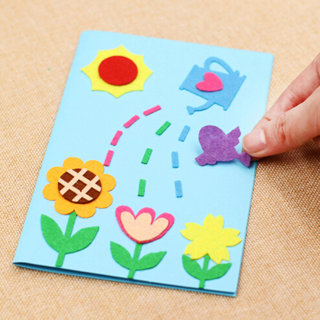 Kids Children Beautiful Birthday DIY Art Craft Kit Gift Greeting Card Blank Felt Handmade