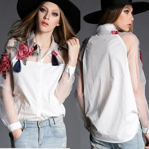 66d34d4a5e2 лето стиль Органзы Лоскутная Поло Женщины Блузки Топы Мода Цветочной  Вышивкой Б