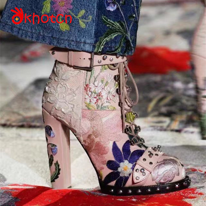 Okhotcn New Runway Women's Boots Floral Embroider Super High Heels Silver Buckle Women Boots Lace Spikes Female Zapatos Mujer