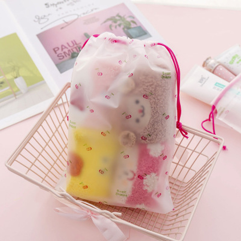 1pcs Cherry Blossoms Storage Bag Novelty Stationery Organizer Storage Bag Transparency Office Supplies Desktop Storage Supplies