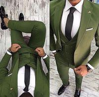 2018 Green Men Suits Peaked Lapel Men's Suit With Pants Slim Fit Jacket Groom Tuxedos Wedding Suit for Men Best Men Vest 3 Piece