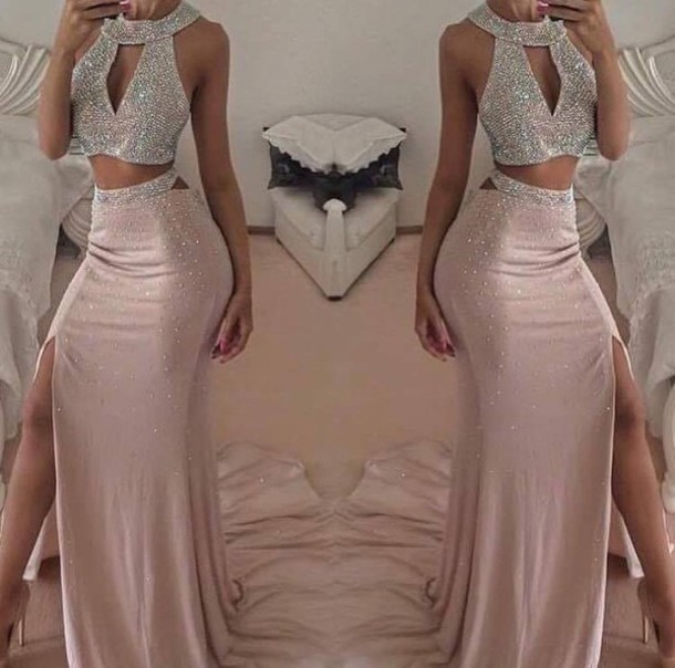 ca683b9dd7c sexy Long Backless Champagne prom dresses 2016 Halter hight split side  Mermaid evening Prom gown formal party dress