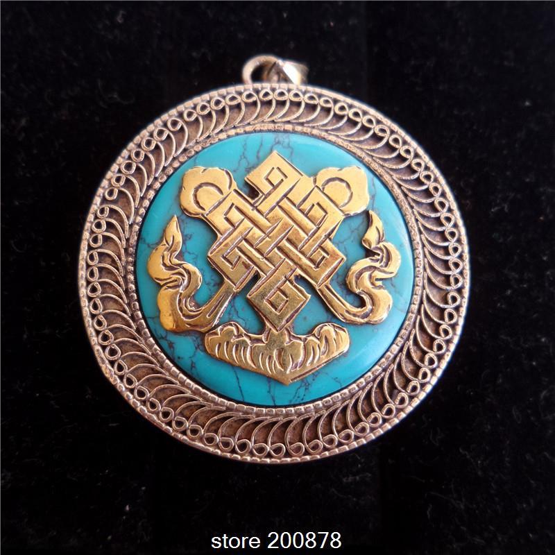 TGB015 Tibetan White Metal Copper Endless Knotss Mantras Amulet prayer box 38mm Nepal Stone Ghau amulets pendant Tibet jewel