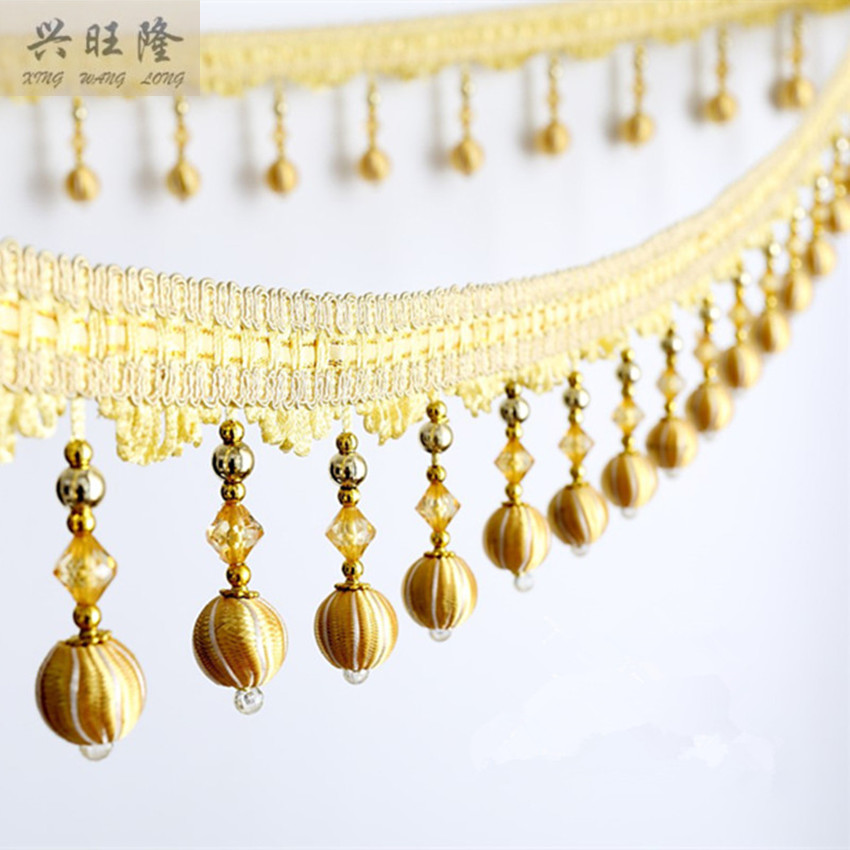 XWL 1M Crystal Beads Curtain Lace Accessories For Drapery DIY Sewing Tassel Fringes Trim Ribbons Sofa Lamp Stage Valance Decor