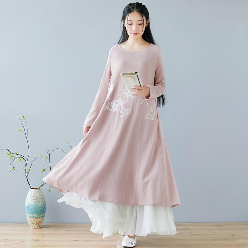 Automne hiver nouvelle robe chinoise col rond broderie rétro quotidien coton linge Art femmes vêtements rose - 4