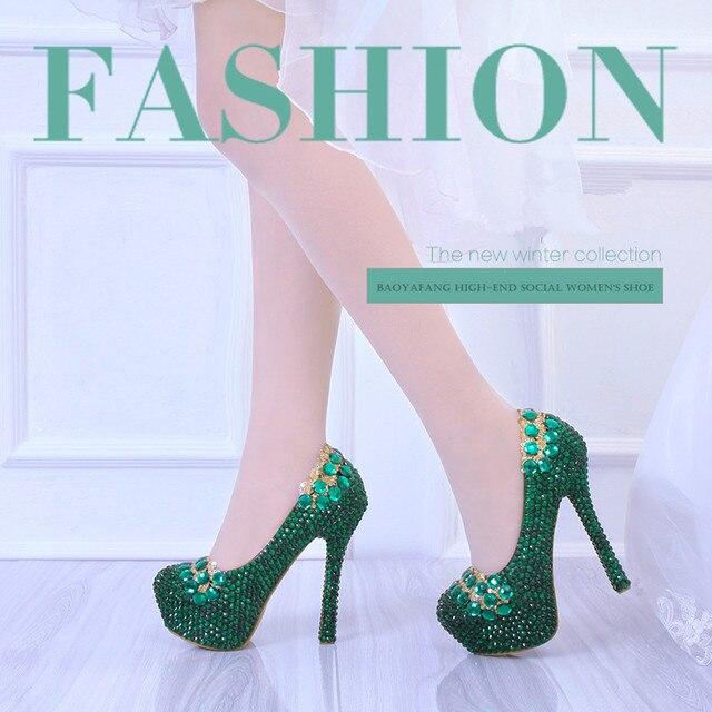 BaoYaFang Nữ Giày Cưới Pha Lê Xanh Ngọc Trai Cô Dâu ĐẦM DỰ TIỆC Giày Nữ Giày Nữ Giày Cao Gót Đế Giày