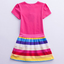 Summer short-sleeved Unicorn dress rainbow pony cartoon girl child clothing girl 3-7 years old H6219