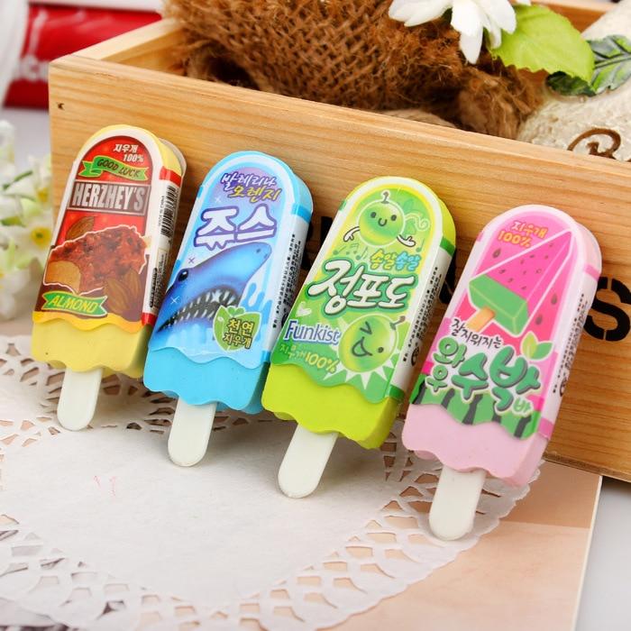 New high quality free shipping kawaii eraser ice cream eraser escolar goma de borrar rubber for kids school supplies 0704