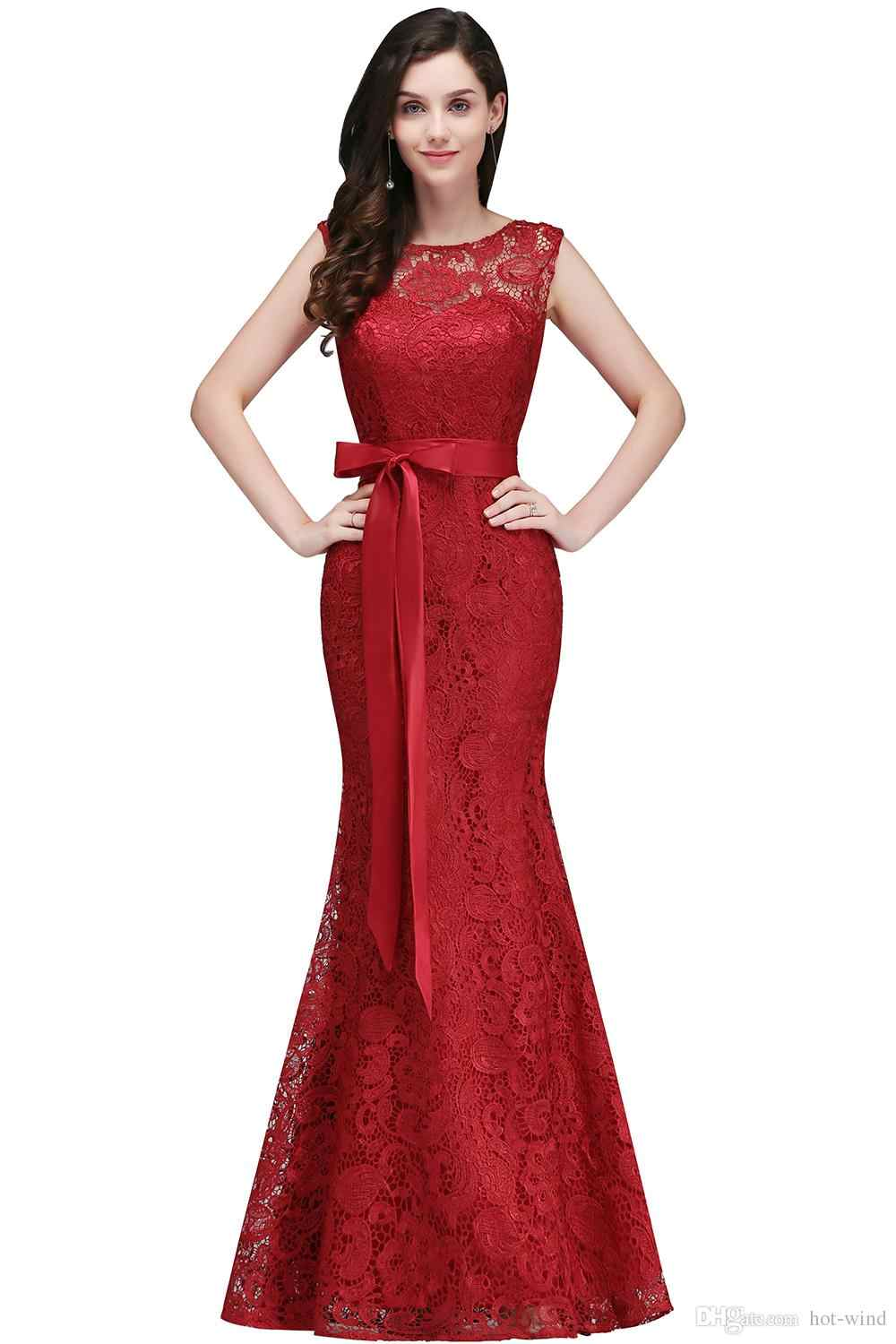 b2f734eb90309 Vestido de festa longo Mermaid Burgundy Dusty Pink Lace Bridesmaid Dresses  2019 Formal Prom Dress Party Gowns With Sash