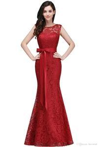 Image 2 - Vestido de festa longo Mermaid Burgundy Dusty Pink Lace Bridesmaid Dresses Formal Prom Dress Party Gowns With Sash