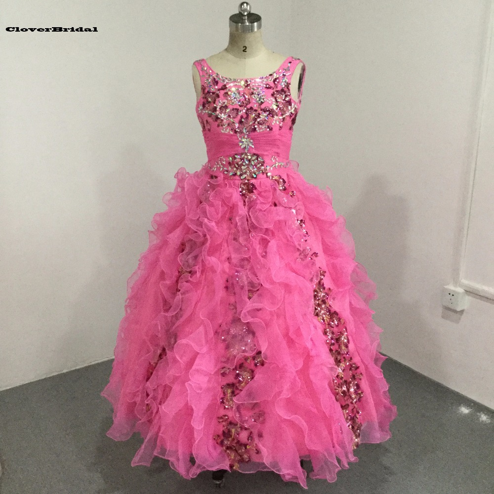 Kıvılcım pembe organze boncuklu ruffled payetli gençler pageant elbise askıları tankı süslenmiş korse kızlar uzun pageant elbise