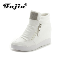 Fujin Brand Autumn Winter Platform Wedge Heel Boots Women Shoes With Increased Platform Sole Female Fashion