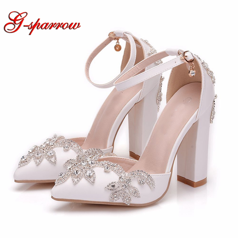 Thick Heel Women Pumps Ankle Straps Sandals Rhinestone White Wedding Shoes Pointed Toe Birthday Party Prom