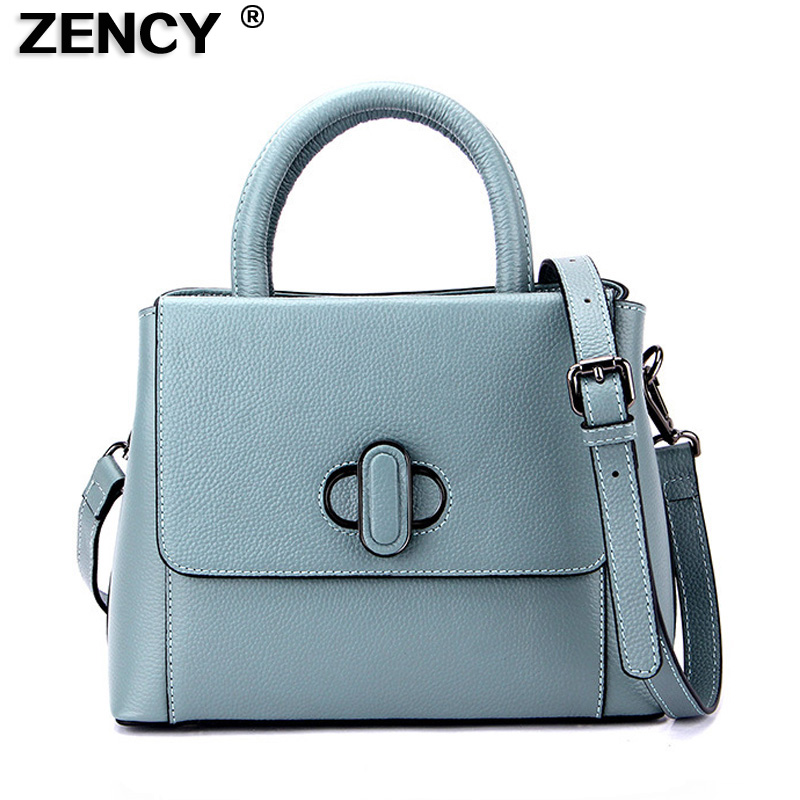 ZENCY Famous Brand First Layer Genuine Real Leather Small Women Tote Handbags Ladies Female Girls Messenger Bag Hobo Satchel zency genuine leather small women shoulder tassel bags tote handbags first layer cow leather ladies messenger bag satchel