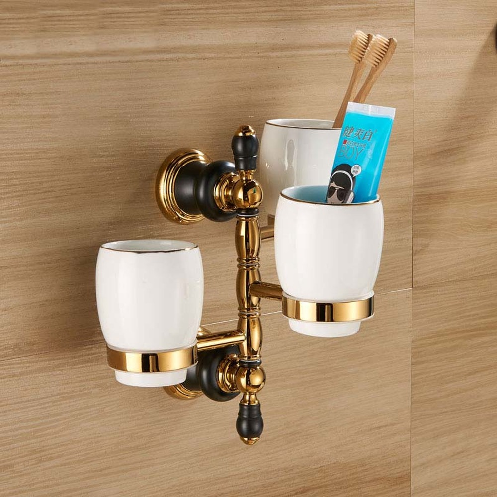 European copper black gold bathroom toothbrush cup holder hardware pendant mouth cup three cup holder American tooth cup LO71853 cup
