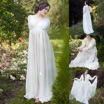 Donne Abito Medievale Bianco Stile Vintage Rinascimentale Vestito di Lunghezza Del Pavimento Delle Donne di Cosplay Abiti Retro Lungo Abito Medievale Abito