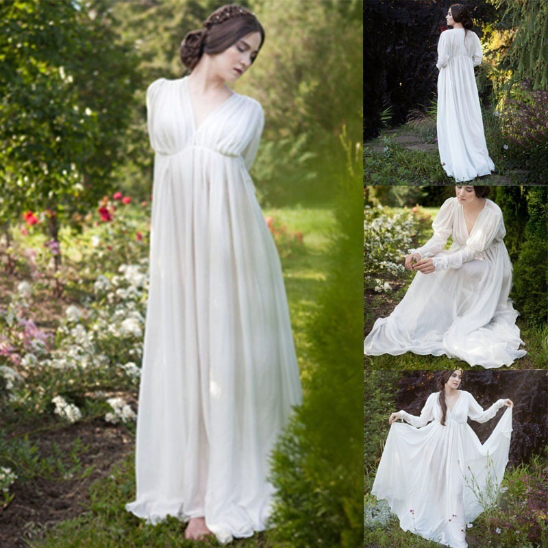 Women Medieval Dress White Vintage Style Renaissance Dress Floor Length Women Cosplay Dresses Retro Long Medieval Dress Gown
