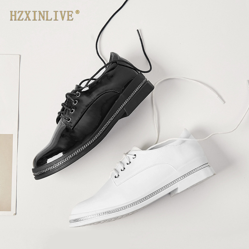 2019 Metal Chain Oxford Shoes for Women Patent Leather Flats Ladies Derby Shoes Round Toe Lace up Autumn Shoes HZXINLIVE spring autumn women flats oxford derby brogue pu patent leather square toe lace up vintage sexy casual dress office ladies shoes