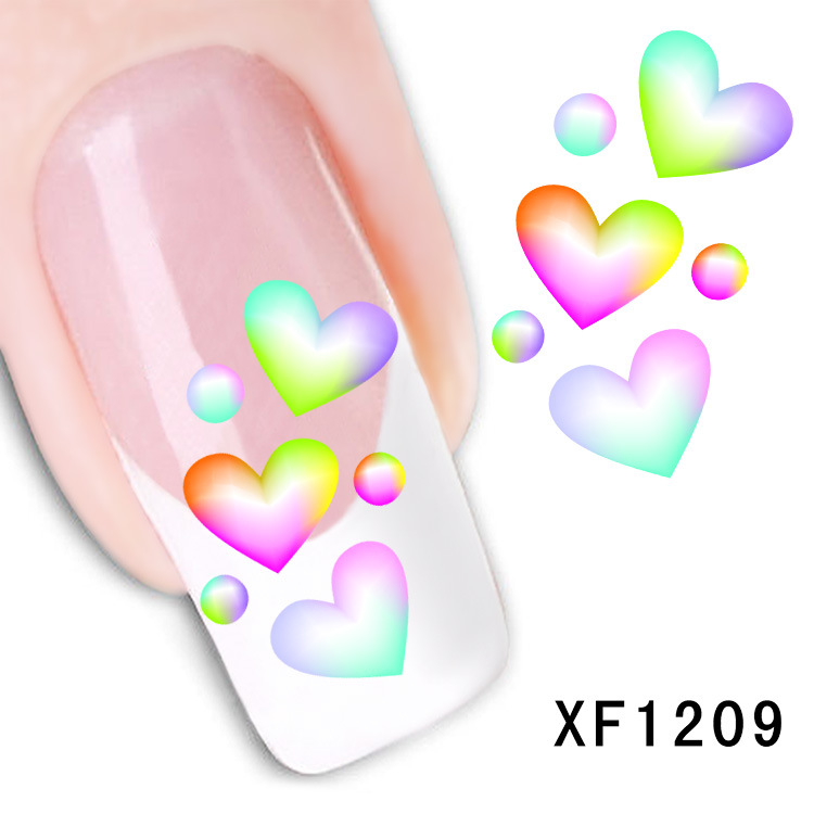 waterproof Water Transfer Nails Art Sticker cartoon love design girl and women manicure tools Nail Wraps XF1209 2016 cartoon design nail art manicure tips water transfer nail stickers paradise vacation desgins nails wraps collections decor
