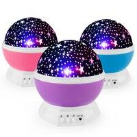 Rotating Star Novelty Night Light Romantic Moon Sky Rotation Night Projector Lamp LED USB Battery For