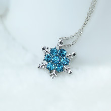 Charm Vintage lady Blue Crystal Snowflake Zircon Flower Silver Necklaces & Pendants Jewelry for Women Free Shipping x24