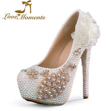 2016Handmade sparkled Ab rhinestone high heels thin heels round toe bridal shoes flowers platform pumps dress