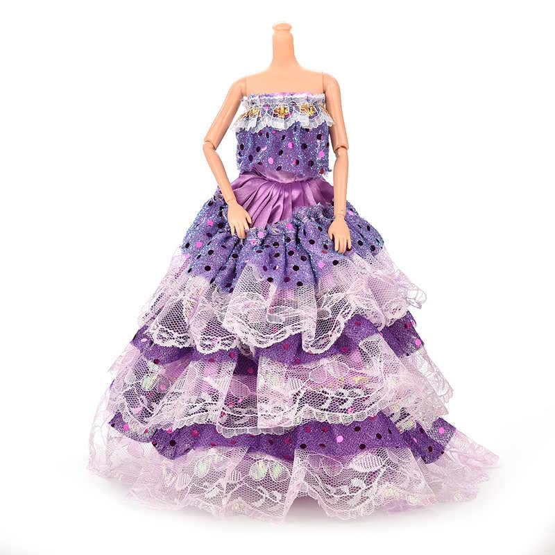 Элегантное свадебное платье принцессы ручной работы для девочек, Кукольное платье с цветочным рисунком, одежда, многослойные аксессуары для кукол