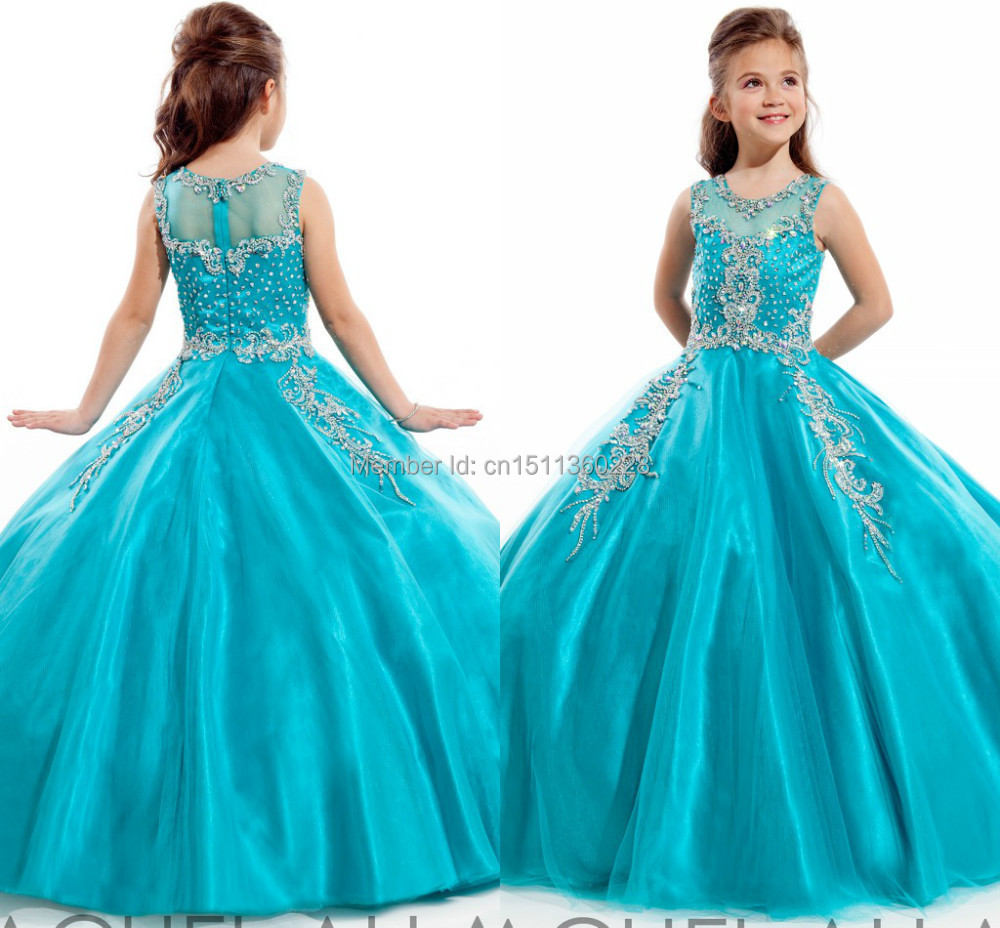 Blue Girls Pageant Dresses 2014 Crystal Beads High Neck