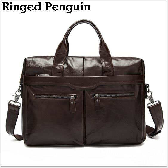 Ringed Penguin Genuine Leather Bag Casual Handbags Cowhide Men Crossbody Bags Men's Travel Bags Tote Laptop Briefcases Men Bag ograff genuine leather men bag handbags briefcases shoulder bags laptop tote bag men crossbody messenger bags handbags designer