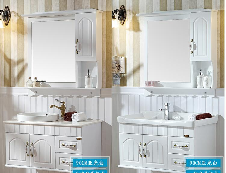 Lavatory ark combination of PVC bathroom cabinet. Small family bathroom condole ark. Wash basin of oak ...