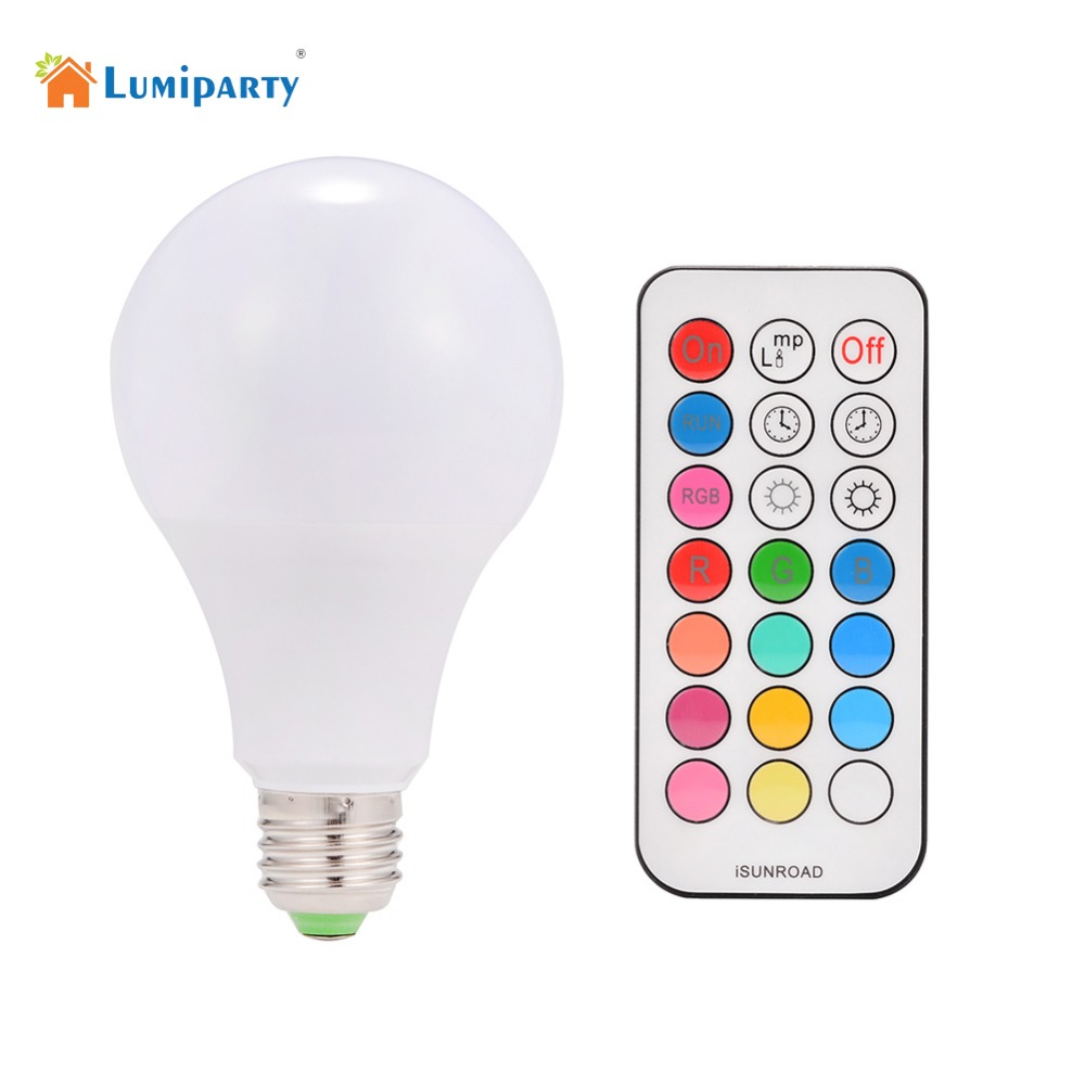 Lumiparty 10W E27 RGBW LED Bulb Color Light RGB White Timing Function AC85~265V Dimmable LED Lamp with Remote Controller Dimmer jr led e27 10w 500lm led rgb light bulb w remote control white silver ac 85 265v