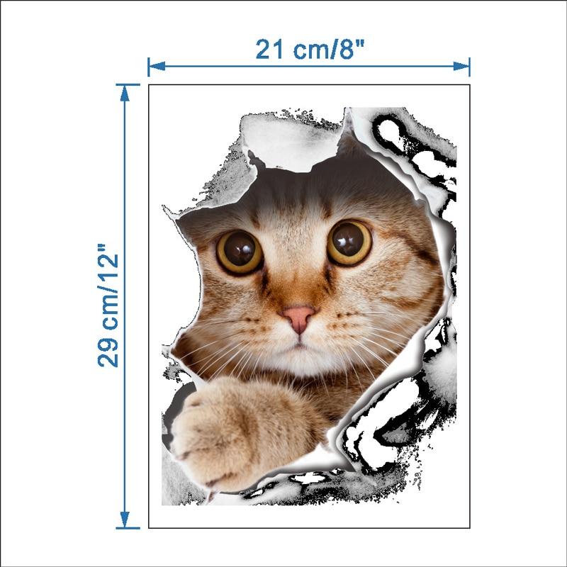 3D-kattmuren Klistermärke På Toalett Klistermärken Badrum - Heminredning - Foto 3