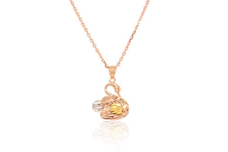 Boraizy Glitzy 18k Gold Swan Charm Pendant Genuine AU750 Necklace Fine Jewelry for Women Lady Female GirlBoraizy Glitzy 18k Gold Swan Charm Pendant Genuine AU750 Necklace Fine Jewelry for Women Lady Female Girl
