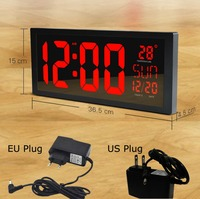 Square 14 inch Wall Clock Digital LED Calendar Temperature Desk Clock Parents like 12 Hours Large Number watch With US/EU PLUG