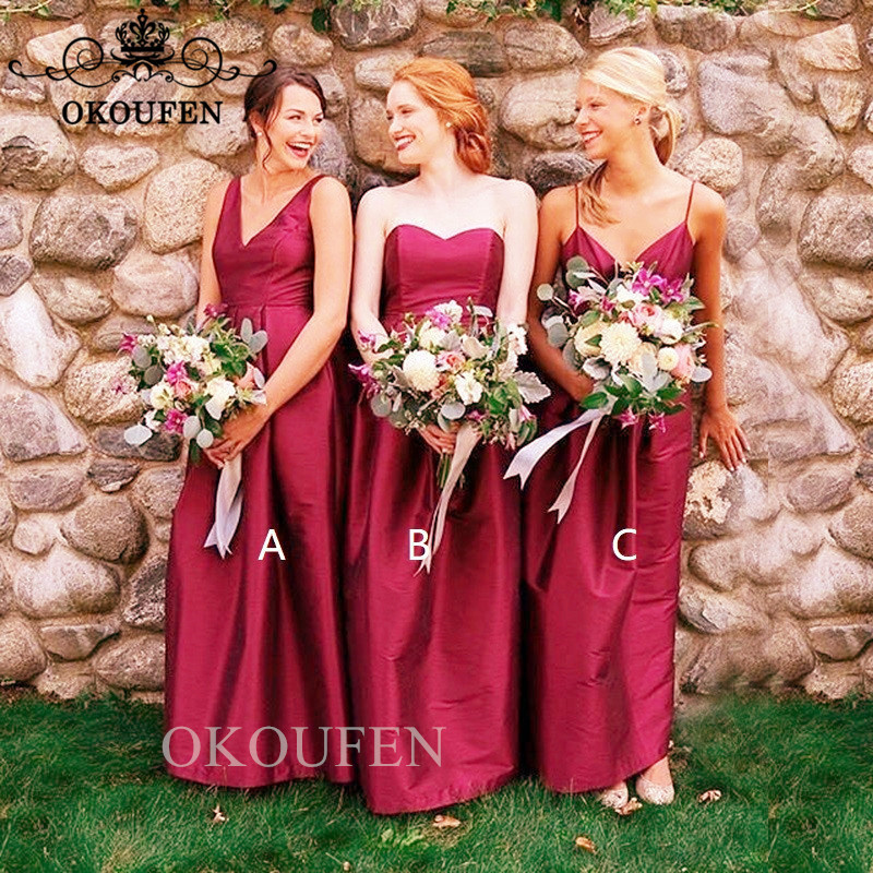3 Style Red   Bridesmaid     Dresses   For Women 2019 Wholesale Price Corset Back A Line Party   Dress   Formal Gown Vestido Longo