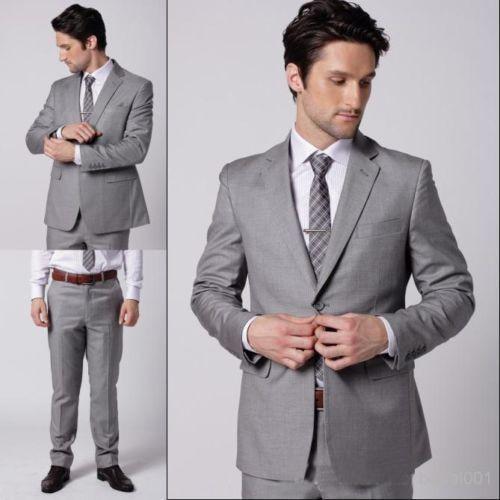 Aliexpress.com : Buy Gray Sharkskin Groom Suit Custom Made Grey ...