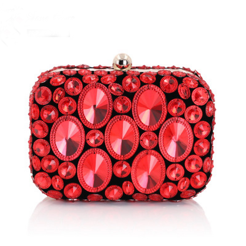 Red Pomegranate Luxury Crystal Clutch Bags Bling Rhinestone Evening Bags Blue Women Evening Clutch Bags Party Bag Handbags Gift rhinestone applique heart pattern crystal clutch evening party bags