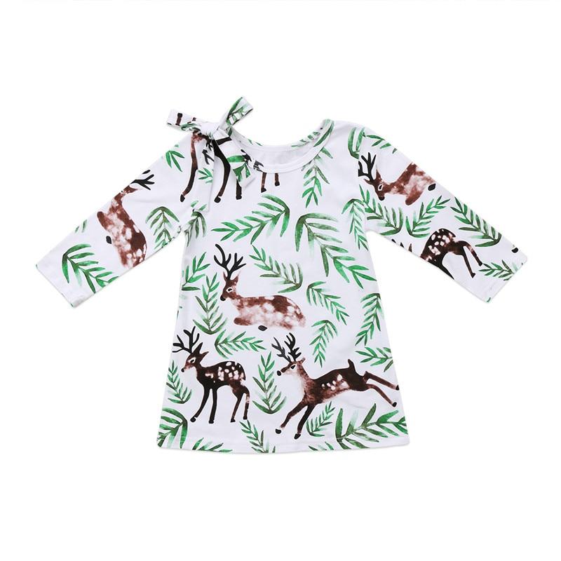Girls Clothing Stylish Cartoon Animal Deer Flower Toddler Kids Baby