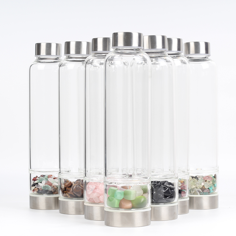 New Product Artistic Pure Quartz Crystal Glass Water Bottle Gravel Irregular Stone Cup Level Wand Therapeutic Infused Elixir Cup