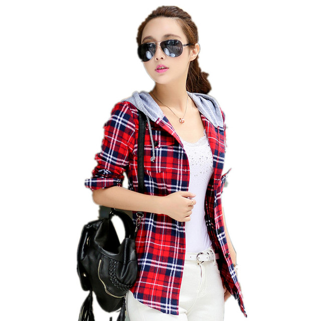 7e4d363879 US $15.55 8% OFF|Autumn Plaids shirts for Women Casual Cotton Blusas  Feminina female Hooded checked shirts top long sleeve shirt in the cage-in  ...