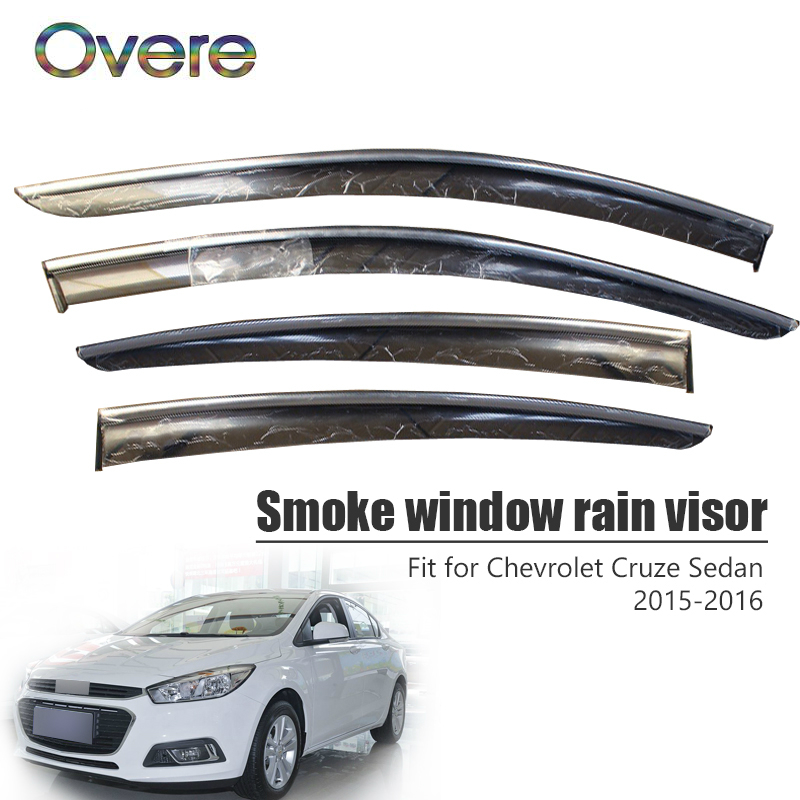 Overe 4Pcs/1Set Smoke Window Rain Visor For Chevrolet Cruze Sedan 2015 2016 Styling ABS Awnings Shelters Guard Accessories|Awnings & Shelters|   - title=